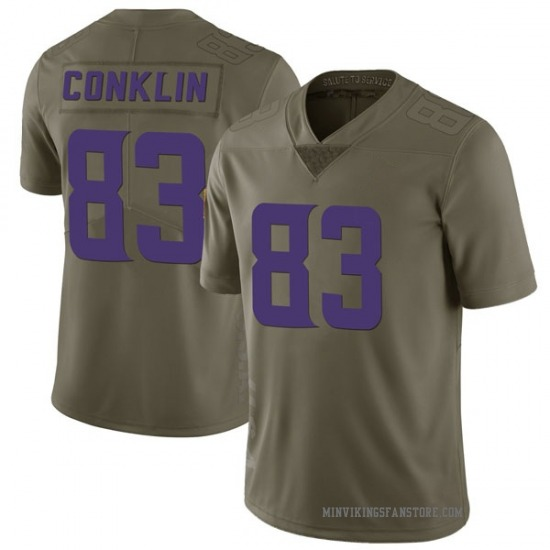 Tyler Conklin Minnesota Vikings No.83 Limited 2017 Salute to Service Jersey - Green